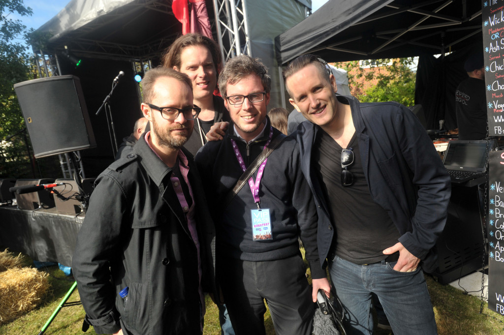 Absolute Radio Breakfast Show broadcasting from Ash, Surrey, with the band Ash performing after a competition was won by a local listener. James Chapple with Ash